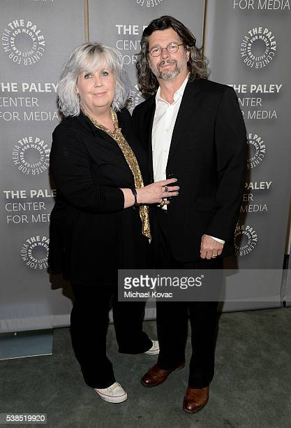 """Costume designer Terry Dresbach and executive producer Ronald D. Moore attend The Paley Center for Media presents The Artistry of """"Outlander"""" at The..."""