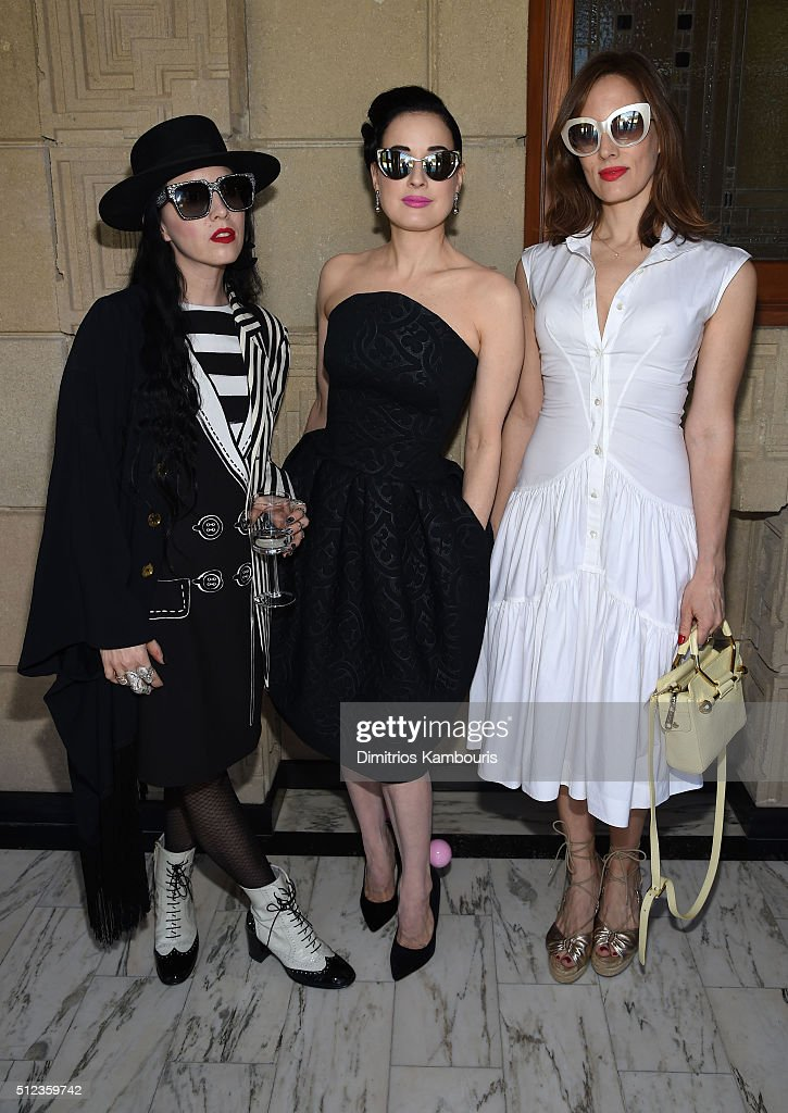Costume designer/stylist Bianca Akerlund, dancer/model Dita Von Teese and filmmaker/writer Liz Goldwyn attend the M.A.C Cosmetics Zac Posen luncheon at the Ennis House hosted by Karen Buglisi Weiler, Demi Moore & Jacqui Getty on February 25, 2016 in Los Angeles, California.