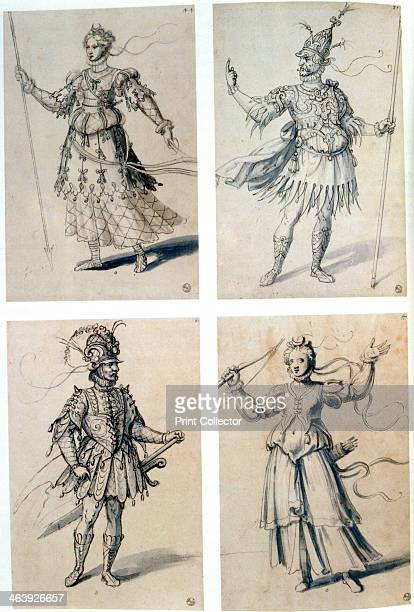 Costume designs for classical deities 16th century Diana/Artemis and Mars/Ares From the Department of Prints and Drawings Florence