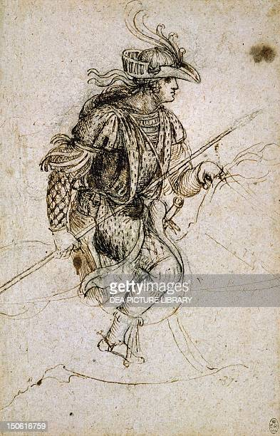 Costume for the Feast of Heaven which took place in Milan in the green room at Castello Sforzesco January 13 by Leonardo da Vinci drawing