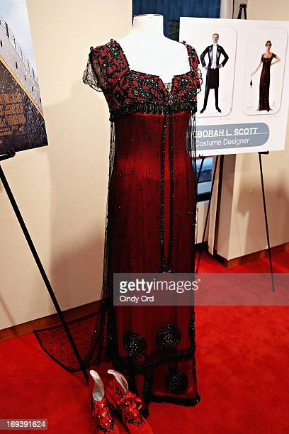 A costume from the movie 'Titanic' designed by Deborah Scott for actress Kate Winslet displayed at the 2013 NYWIFT Designing Women Awards at The...