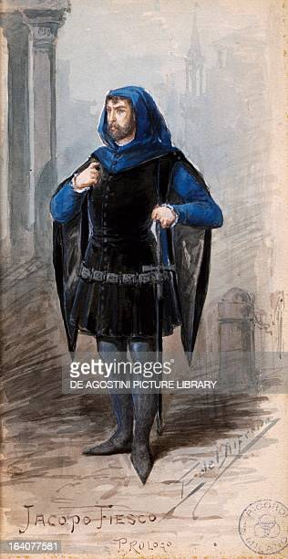Costume sketch by Alfred Edel for the prologue by Jacopo Fiesco in the opera Simon Boccanegra by Giuseppe Verdi performed at La Scala Theatre in...