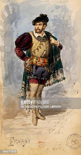 Costume sketch by Alfred Edel for the role of Ernani in the first act of the homonymous opera by Giuseppe Verdi performed at La Scala Theatre in...
