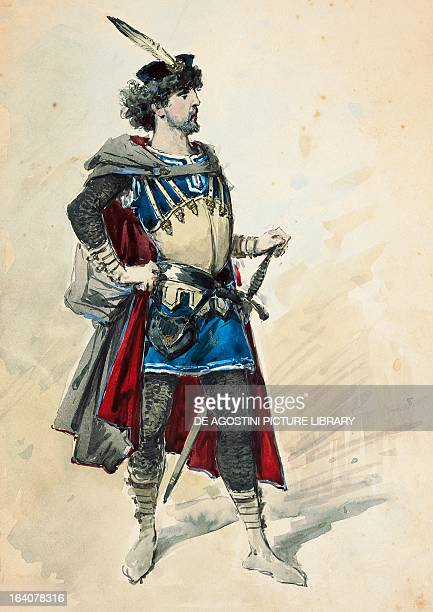 Costume sketch by Alfred Edel for the role of Manrico in Il trovatore , opera by Giuseppe Verdi performed at La Scala Theatre in Milan, January 3,...