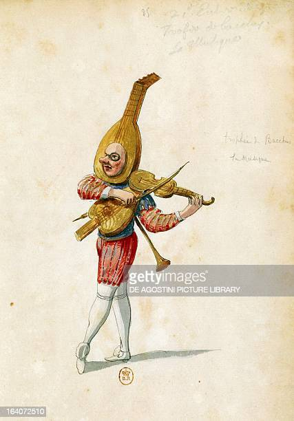 Costume sketch by Jean Berain the Elder for Le feste di Amore e di Bacco ballet by JeanBaptiste Lully performed at the PalaisRoyal in Paris November...
