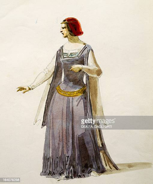 Costume sketch for Adele in Il Pirata opera by Vincenzo Bellini performed at the Cannobiana Theatre in Milan 1854 Watercolor Milan Museo Teatrale
