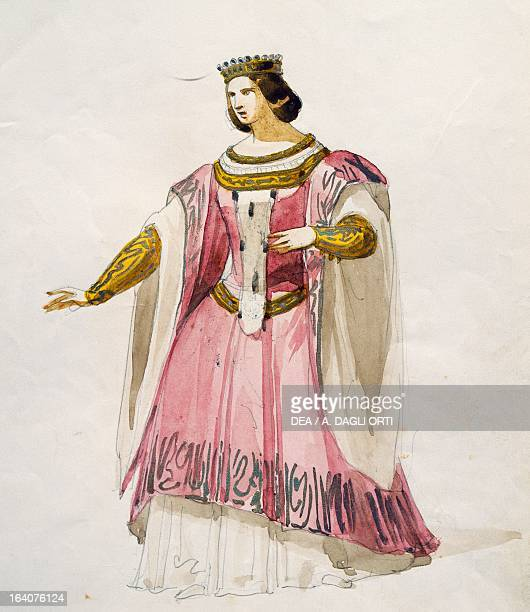 Costume sketch for Isoletta in La Straniera opera by Vincenzo Bellini performed at the Cannobiana Theatre in Milan 1854 Watercolor Milan Museo...