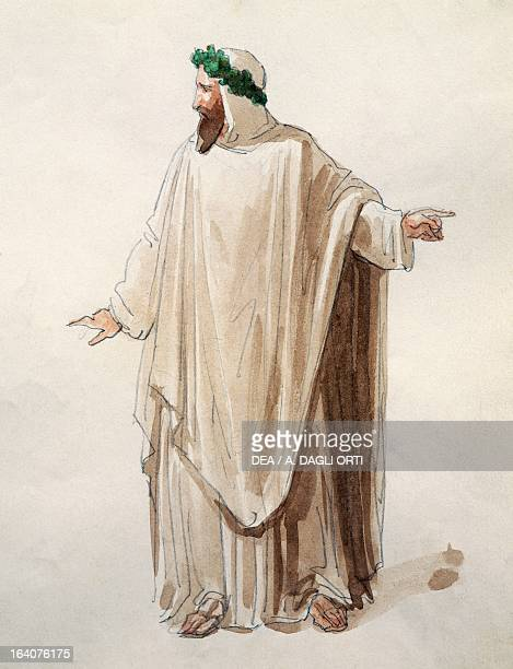 Costume sketch for the Druids in La Norma by Vincenzo Bellini performed at La Scala Theatre in Milan season 18561858 Watercolor Milan Museo Teatrale