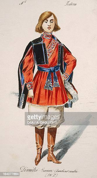 Costume sketch for the role of Dimitri in the premiere of the opera Fedora by Umberto Giordano performed at the Teatro Lirico in Milan November 17...