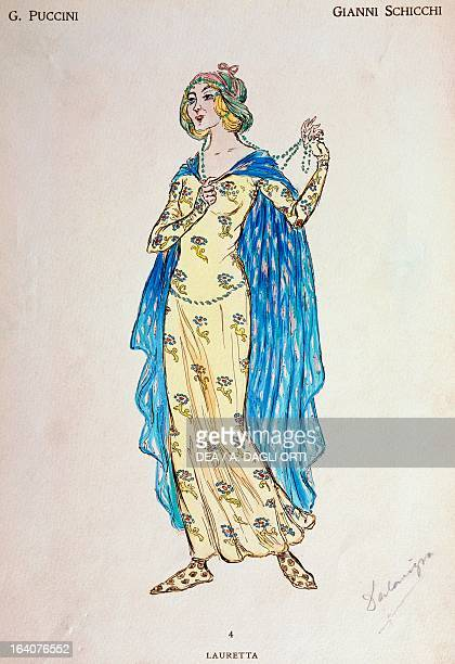 Costume sketch for the role of Lauretta in the opera Gianni Schicchi part of the Trittico collection of three operas by Giacomo Puccini Milan Museo...