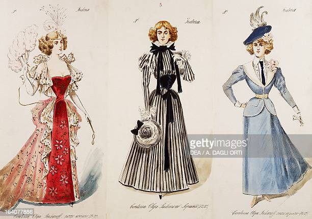 Costume sketches for female characters in the premiere of the opera Fedora by Umberto Giordano performed at the Teatro Lirico in Milan November 17...