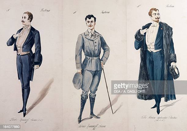 Costume sketches for male characters in the premiere of the opera Fedora by Umberto Giordano performed at the Teatro Lirico in Milan November 17 1898