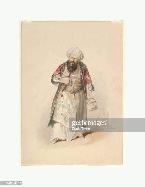 Costume Study for Osmin in the 'Abduction from the Seraglio' by W.A. Mozart, ca. 1830–50, Watercolor, over graphite, gum arabic, Sheet: 11 1/8 × 8...