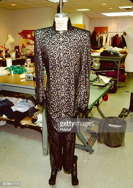 A costume worn by Prince displayed on a mannequin tailored to Prince's measurements circa 1990 at Paisley Park in Chanhassen Minnesota