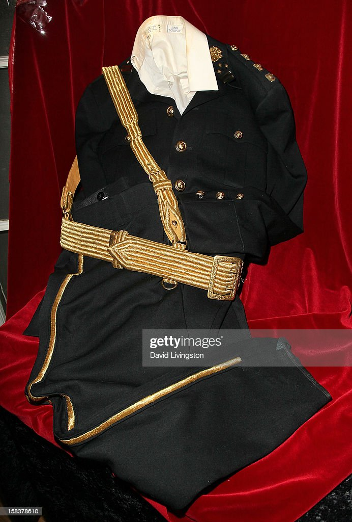A costume worn by recording artist Michael Jackson during the 1986 American Music Awards is displayed at Nate D. Sanders media preview for Michael Jackson's 1980's iconic stage-worn items on December 14, 2012 in Los Angeles, California.