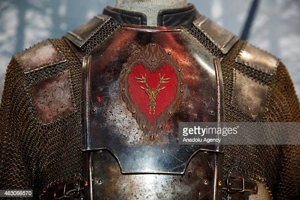 A costume worn by Stephen Dillane as Stannis Baratheon in Game of Thrones TV show is at 'Game of Thrones The Exhibition' at the O2 in London England...
