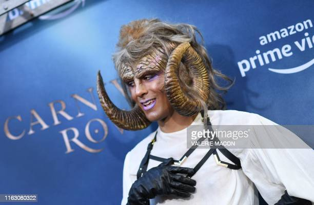 A costumed character arrives for the Los Angeles premiere of Amazon Original Series Carnival Row at the TCL Chinese theatre on August 21 2019 in...