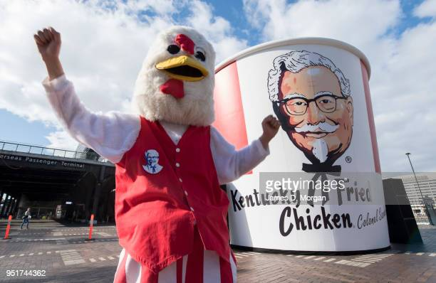 A costumed character dressed as a chicken next to a gigantic Kentucky Fried Chicken bucket to celebrate it's 50th birthday in Australia measuring six...