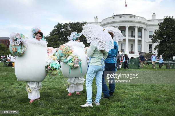Costumed characters await visitors during the 139th Easter Egg Roll on the South Lawn of the White House April 17 2017 in Washington DC The White...