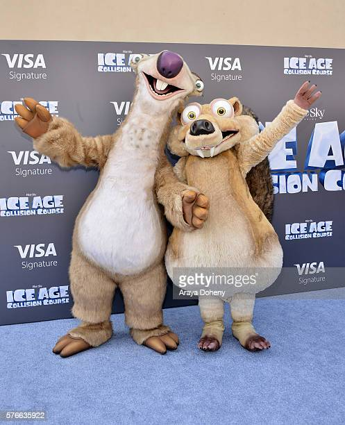 Costumed characters Sid and Scrat attend a screening of 'Ice Age Collision Course' at Zanuck Theater at 20th Century Fox Lot on July 16 2016 in Los...