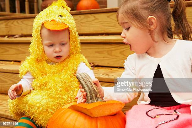 Costumed Children with Jack-O-Lantern