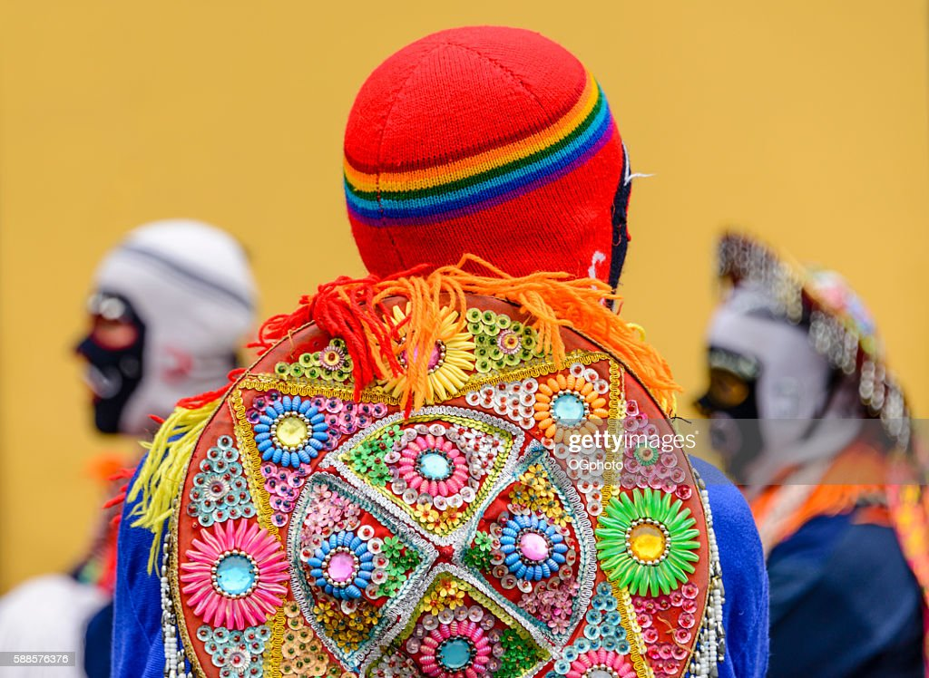 Costumed dancers during a traditional celebration. : Stock Photo
