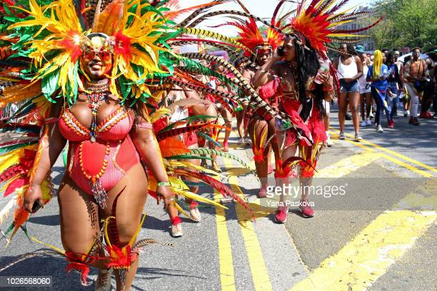 Costumed dancers participate in the annual West Indian Day Parade on September 3 2018 in the Brooklyn borough of New York City The parade is one of...