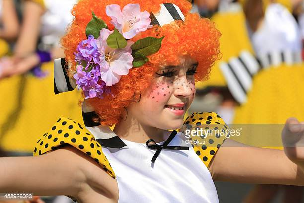 Costumed Girls at Madeira Flower Festival Parade, Portugal