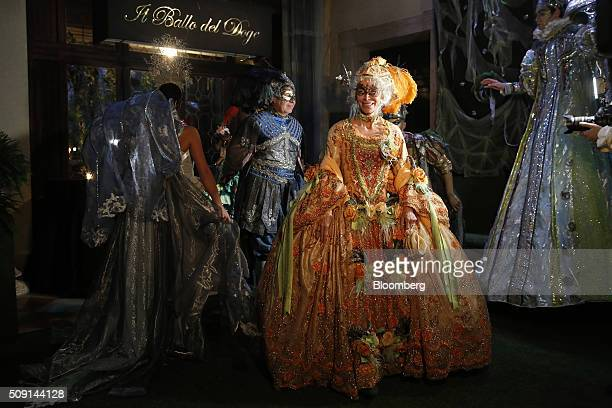 Costumed guests arrive for The Secret Garden of Dreams a themed evening at the 23rd edition of Antonia Sautter's Il Ballo del Doge masked ball during...