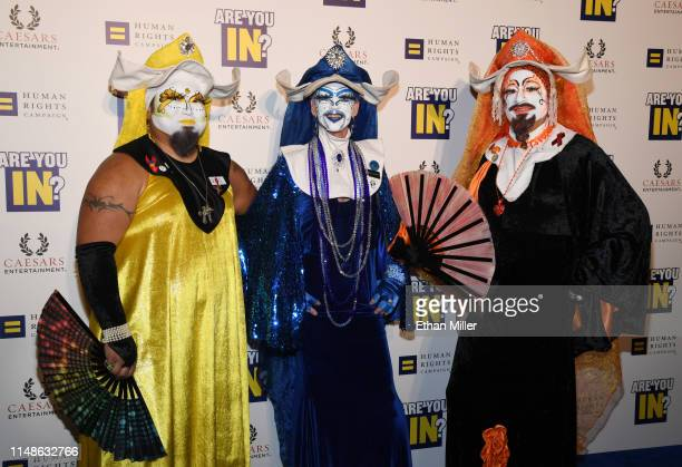 Costumed guests attend the Human Rights Campaign's 14th annual Las Vegas Gala featuring a keynote address by South Bend, Indiana Mayor Pete Buttigieg...