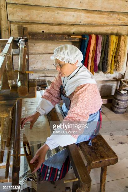 costumed interpreter, village historique acadien, caraquet, new brunswick, canada - historique stock pictures, royalty-free photos & images