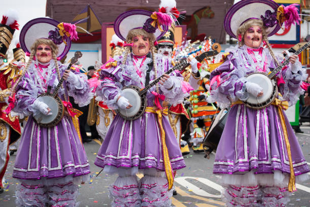 Costumed musicians perform in a traditional parade in Philadelphia