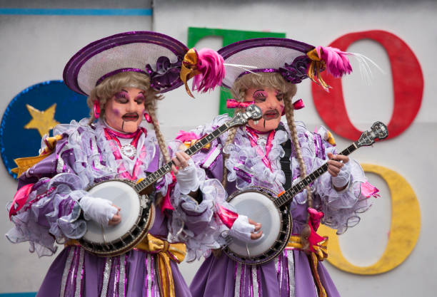 Costumed musicians take part in a traditional parade in Philadelphia
