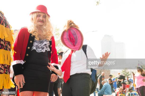 costumed parade spectators fat tuesday new orleans mardi gras louisiana - female reproductive system stock photos and pictures