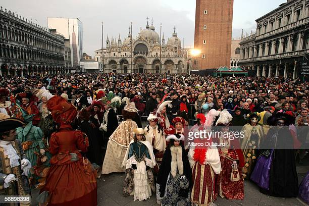 Costumed Partecipants of the great historical parade stand in St.Mark's Square during the Carnival on February 18, 2006 in Venice, Italy. The...