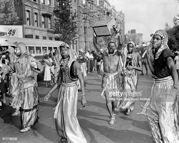 Costumed participants in the annual West Indian Day parade on Seventh Avenue in Harlem