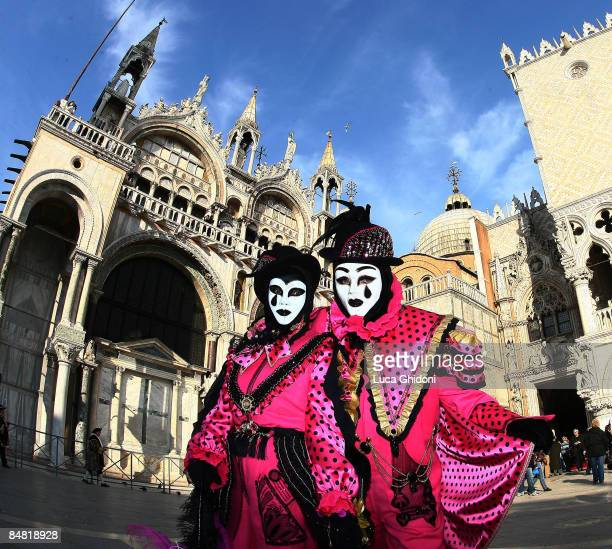 Costumed people parade on San Marco Square during the annual Venice Carnival 'Sensation 2009' on February 16 2009 in Venice Italy The Venice Carnival...