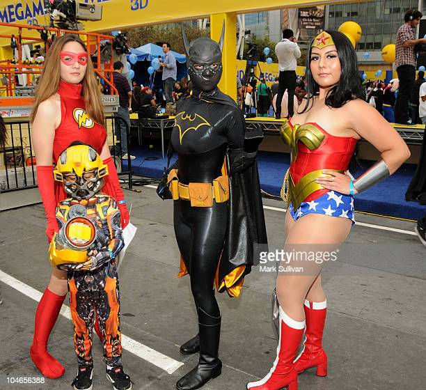 Costumed superheroes attend the successfull setting of the Guinness World Record for the Largest Gathering of Superheroes at the celebration of the...