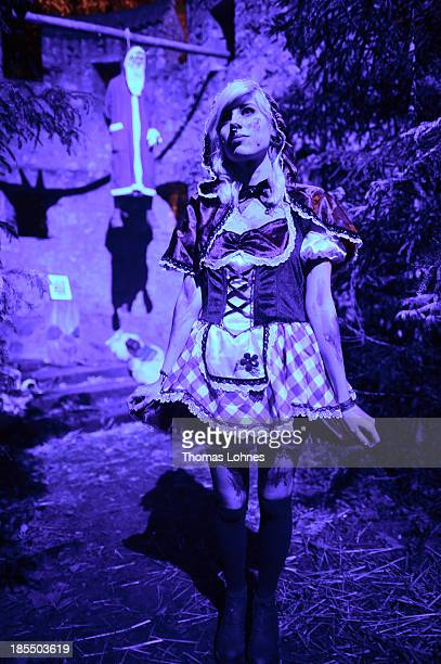 A costumed visitor poses at Frankenstein castle on October 19 2013 in Darmstadt Germany In the background hang Santa Claus Since this weekend 99...