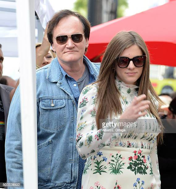 Costumer Courtney Hoffman with director Quentin Tarantino at Quentin Tarantino's Star Ceremony held on the Hollywood Walk Of Fame on December 21 2015...