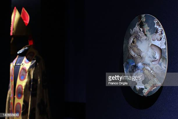 Costumes and decoupages created by HM Queen Margrethe II of Denmark at the Museo Nazionale Romano of Palazzo Massimo alle Terme during the opening...