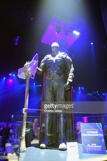 Costumes are displayed during the Los Angeles World Premiere of Marvel Studios' Avengers Endgame at the Los Angeles Convention Center on April 23...