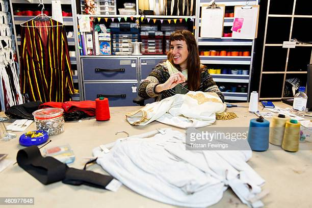 Costumes are prepared backstage ahead of the opening of Kooza by Cirque Du Soleil at Royal Albert Hall on January 2 2015 in London England