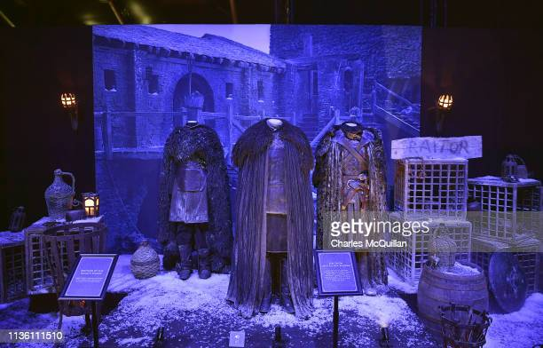 Costumes belonging to the character Jon Snow can be seen on display at the Game Of Thrones: The Touring Exhibition press launch at Titanic Exhibition...