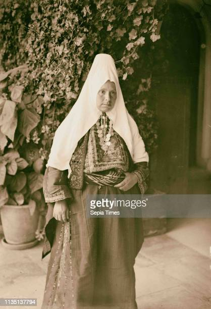 Costumes, characters, etc. Bethlehem woman. 1900, West Bank, Bethlehem
