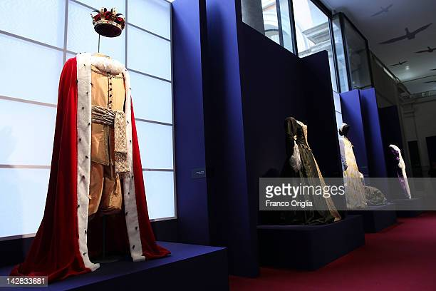 Costumes created by HM Queen Margrethe II of Denmark at the Museo Nazionale Romano of Palazzo Massimo alle Terme during the opening exhibition of...