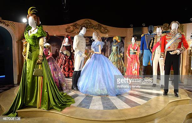 Costumes from the film on display at the Cinderella Exhibition at Leicester Square on March 20, 2015 in London, England.