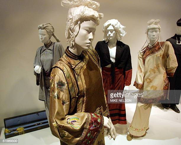Costumes from the Oscarnominated movie Crouching Tiger Hidden Dragon are displayed for the media at the Fashion Institute of Design Merchandising...