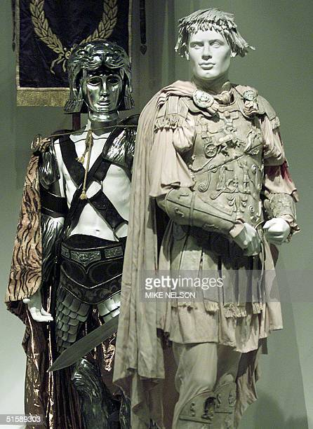 Costumes from the Oscarnominated movie Gladiator are displayed for the media at the Fashion Institute of Design Merchandising museum gallery in Los...