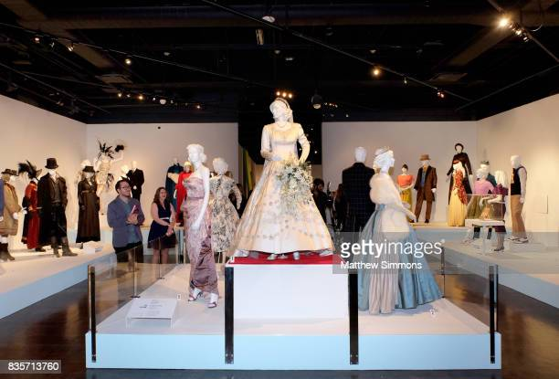 Costumes from the show The Crown on display at the media preview of the 11th annual Art of Television Costume Design exhibition at FIDM Museum...